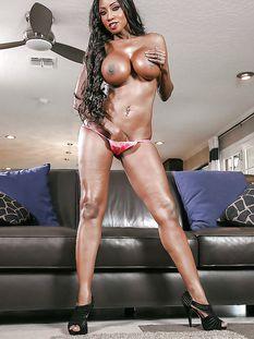 Горячая американская негритянка с большой грудью Diamond Jackson