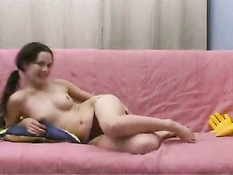 Girl plays with her toy