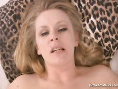 Blonde sucking for cum