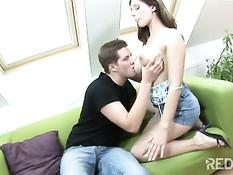 Sucking her boyfriend\'s dick