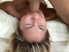 Blond cutie gets her throat abused