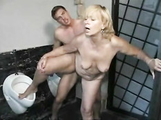 German fucking cleaning lady in toilet