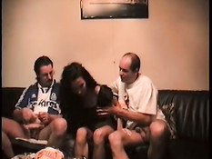 Maid doing it with two guys