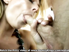 Sexy blonde gives a perfect blowjob