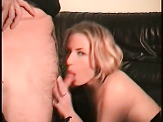 Hot blonde sucking on leather couch