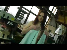 Redhead gets undressed