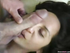 Amateur having a cock in her face