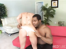 Black cock cares for blonde's security