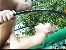 Sweet young blond babe used by dick