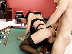 Billards bitch gets fucked and pees