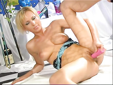 Blonde with pink dildo 2
