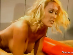 Blonde fucked on couch