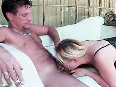 Blond asian whore is doing her blowjob
