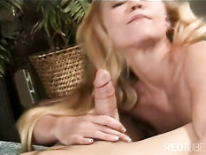 Smiling blonde fucked in all holes