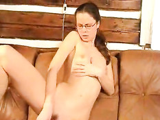 Brunette with little tits having lots of fun