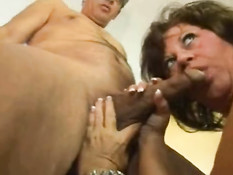 Old whore works  pussy and blows