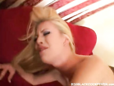 Two blondes on a black cock