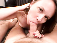 Carrie sucking two cocks 1