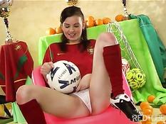 Cute girl is fan of Portugal