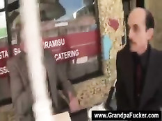 Teen blowing grandpa and his friends
