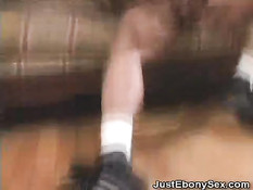 black amateur wearing fishnets gets fucked