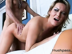 Megan receives a big load from a big dick