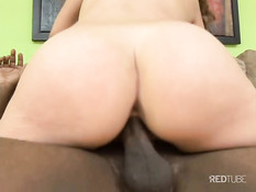 Young babe gets fucked on a couch