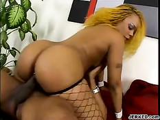Ebony blonde sucks cock and gets fucked