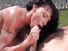 Valentina Sucks A Huge Cock Outdoors