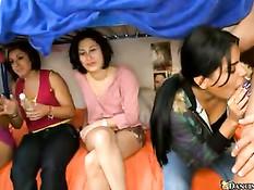 Группа девочек учится не бояться минета