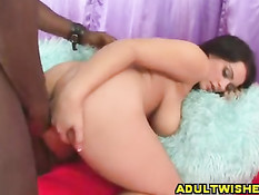 Brunette gets chocolate stick in ass