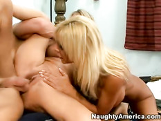 Two big tited blondes and one guy 2