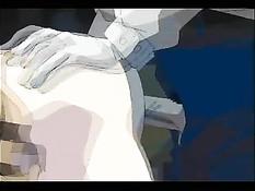 Связанная аниме девка сосёт член и испытывает мокрый оргазм