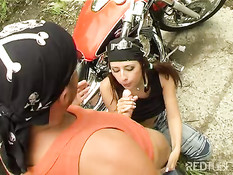 Motorbike Couple doing it outdoors
