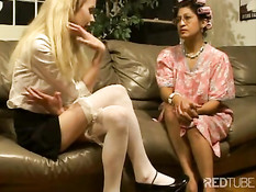 Sexy blonde and her mature girlfrind