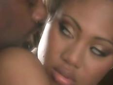 Молодая чёрная красавица Evanni Solei занимается любовью с негром