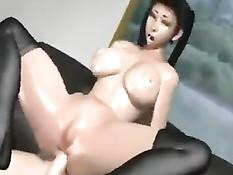 3D девка дрочит член огромной грудью и занимается сексом с парнем
