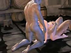 3D монстры затащили рыжую девушку в подвал и вдвоём её оттрахали