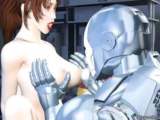 3D девчонка с большими сиськами трахается с железным человеком