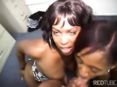 Две девушки с большими задницами делают фелляцию и сосут член