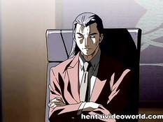 Босс уложил на стол хентай секретаршу и трахнул в волосатую киску