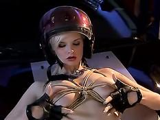 Связанную грудастую блондинку жёстко оттрахали в анус в гараже