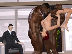 Обнажённая 3D девушка ебётся с двумя неграми в присутствии мужа