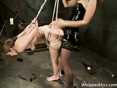 Госпожа выпустила рабыню из клетки и отшлёпала по голой заднице