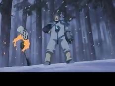 Молодой ниндзя Наруто Удзумаки сражается со своими противниками