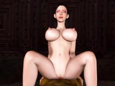 3D девушке с огромными сиськами дали отсосать и насадили на член