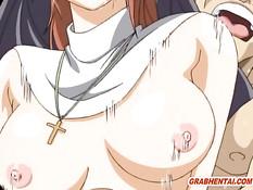 Хентай монахиня вынуждена отсосать священнику и заняться сексом