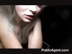 Симпатичная европейская блондинка за деньги трахается в туалете