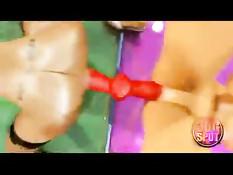 3D девушки занимаются сексом со страпоном в магазине электроники
