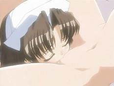 Грудастая хентай лесбиянка в чулках на кровати затрахала подругу